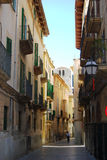 Medieval street of Palma. View of beautiful generic catalan street in Palma de Mallorca Royalty Free Stock Photo