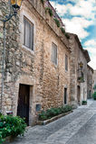 Medieval street in Peratallada, Spain Royalty Free Stock Image