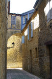 Medieval street in Sarlat France. This is a street in the medieval town of Sarlat, France, a UNESCO historical site Royalty Free Stock Photo