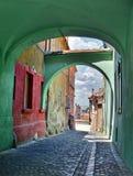 Medieval Street in Sibiu Stock Image