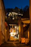 Medieval street from Sighisoara, in the night stock photography