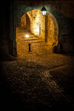 Medieval street from Sighisoara, Romania. Photo taken by night Royalty Free Stock Images