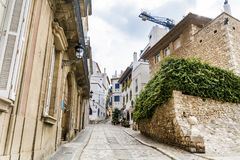 Medieval street in Sitges old town, Spain Stock Images
