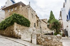 Medieval street in Sitges old town, Spain Stock Photography