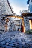 Medieval street  St. Catherine's Passage in Tallinn, Estonia Stock Photography