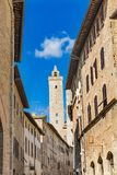 Medieval Street Stone Cuganensi Tower San Gimignano Tuscany Ital royalty free stock image