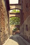 Medieval street in Torun stock images