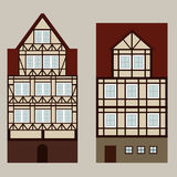 Medieval street with ttwo houses. Two medieval houses on the street, vector Stock Image