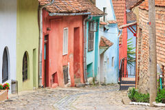 Medieval street view in Sighisoara, Romania Royalty Free Stock Photos