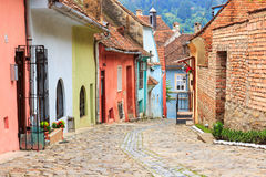 Medieval street view in Sighisoara, Romania Royalty Free Stock Photography