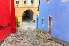 Medieval street view in Sighisoara, Romania Royalty Free Stock Images
