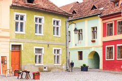 Medieval street view in Sighisoara, Romania Stock Photography
