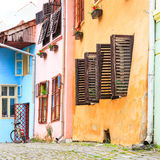 Medieval street view in Sighisoara, Romania Stock Photos