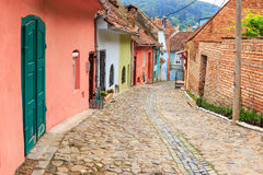 Medieval street view in Sighisoara, Romania Stock Image