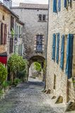 Medieval street of the village of cordes sur ciel Royalty Free Stock Image