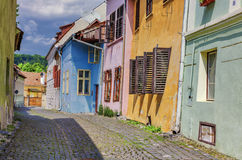 Medieval streets with colorful houses in Sighisoara stock photo