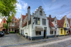 Medieval streets of old Bruges, Belgium stock photo