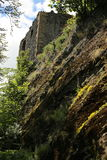 Medieval stronghold ruined tower on the steep rock Stock Photos