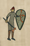 Medieval Style Artwork of Norman soldier. Circa 11th Century Styles of image. (Computer Artwork with cloth texture Stock Photos
