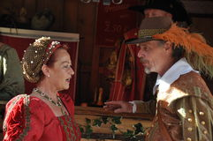 Medieval style dressed couple Royalty Free Stock Image