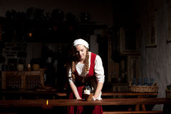 Medieval style girl at the restorant of  tallinn Royalty Free Stock Image