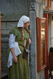 Medieval style girl at the street of  tallinn Royalty Free Stock Photography