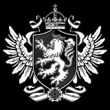 Heraldic Lion Wing Crest on Black stock illustration