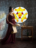Medieval style female portrait Stock Images