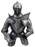 Medieval Suit Of Armour. Isolated European Medieval Suit Of Armour (Armor) With Helmet royalty free stock photography