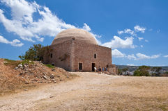 The medieval Sultan Ibrahim's mosque on the top of the Fortezza. Crete, Greece. Royalty Free Stock Photos