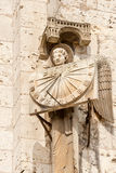 Medieval sun clock. Antique sun clock on the wall of Chartres cathedral, France Royalty Free Stock Photo
