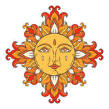 Medieval sun with face for print Stock Photos