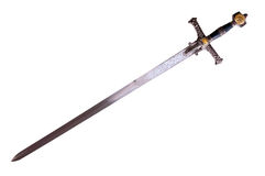 Medieval sword. Fantasy medieval sword isolated on white background disposed by diagonal
