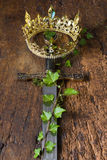 Medieval sword and crown Royalty Free Stock Photos