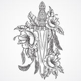 Medieval sword, flowers, leaves and feathers. Vintage floral highly detailed hand drawn illustration. Isolated elements. Royalty Free Stock Photo
