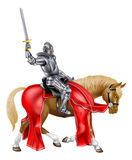 Medieval Sword Knight on Horse Stock Photos