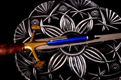Medieval Sword and pen Royalty Free Stock Image