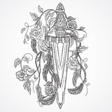 Medieval sword, roses, leaves and feathers. Vintage floral highly detailed hand drawn illustration.  elements. Victorian M Royalty Free Stock Images