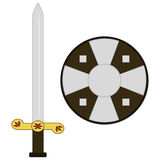 Medieval sword and shield royalty free stock image