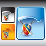 Medieval sword and shield on blue ripcurl backdrop Royalty Free Stock Photo