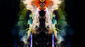 Medieval sword in woman hand and Softly blurred watercolor background. Medieval sword in woman hand and Softly blurred watercolor background Stock Photo