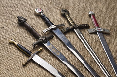 Medieval swords. Various swords with different handles Stock Images
