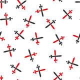 Medieval Swords Flat Vector Seamless Pattern. Medieval Swords vector seamless repeatable pattern. Style is flat red and dark gray medieval swords symbols on a Stock Photo
