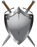 Medieval swords with shield. A set of double-edged swords medieval shield. Vector illustration Royalty Free Stock Photography