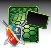 Medieval swords and shield on green hexagon ad. Green hexagon advertisement with a medieval shield and crossed swords Royalty Free Stock Photography