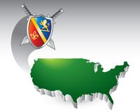 Medieval swords and shield over united states icon. Green united states icon under medieval shield and swords Royalty Free Stock Images