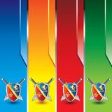 Medieval swords and shield on vertical banners Stock Photos