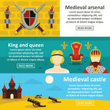 Medieval symbols banner horizontal set, flat style Royalty Free Stock Images