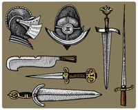 Medieval symbols, Helmet and swords, knife vintage, engraved hand drawn in sketch or wood cut style, old looking retro Royalty Free Stock Photos