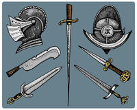 Medieval symbols, Helmet and swords, knife vintage, engraved hand drawn in sketch or wood cut style, old looking retro Royalty Free Stock Photo